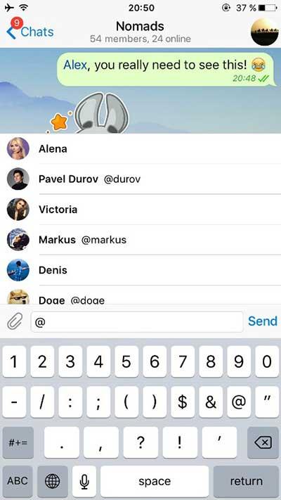 В Телеграм в групповых чатах теперь можно упомянуть собеседника